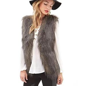 NWT Faux Fur Peacock Feather Striped Vest Size: S